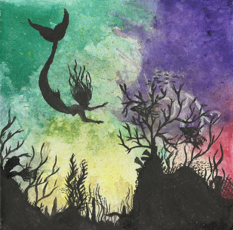 800x791 Coral Reef Ii W Mermaid