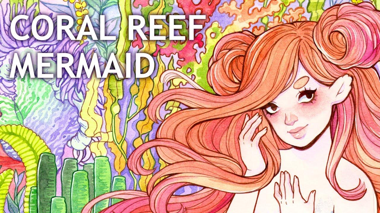 1280x720 Coral Reef Mermaid Watercolor Painting Color Talk