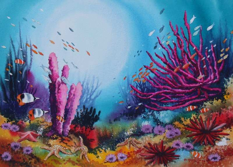800x575 Coral Reef Painting New Ronald Pratt Watercolors Painting Ideas