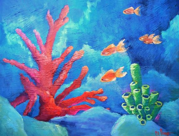 570x434 Coral Reef Painting Tropical Painting Fish Painting Etsy