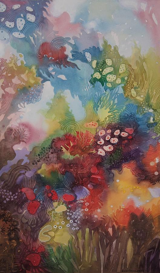 529x900 Coral Reef Painting By Ezartesa Art