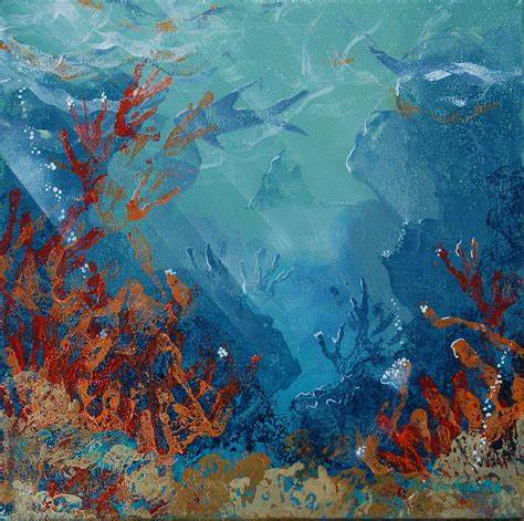 474x471 Coral Reef Watercolor Painting. Under The Sea Watercolor Painting