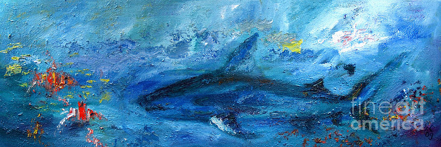 900x300 Great White Shark Coral Reef Ocean Life Painting By Ginette Callaway