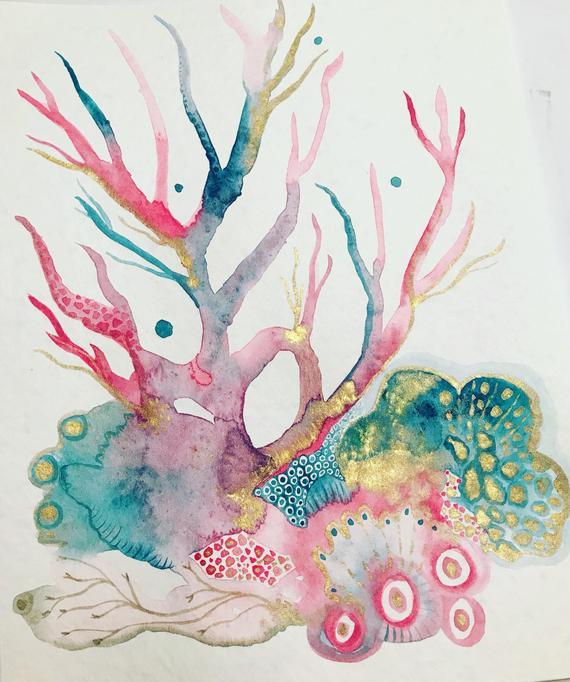570x682 Jewel Tone Coral Reef Original Watercolor Etsy