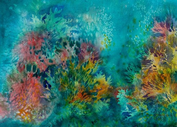 570x409 Water Color Note Card Coral Reef Digital Reproduction Of Original