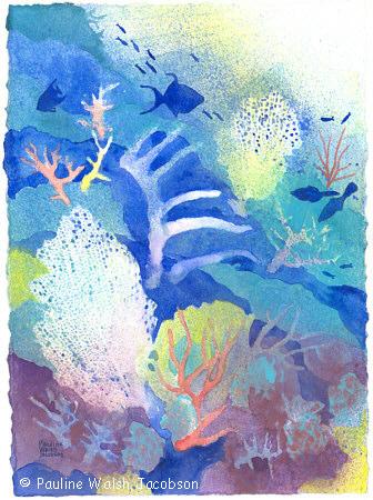 336x450 Watercolor Paintings Coral Reef Dreams 3