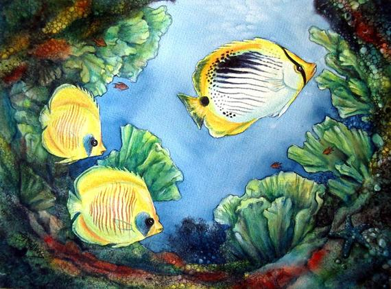 570x421 Yellow Butterflyfish Tropical Coral Reef Painting Original Etsy