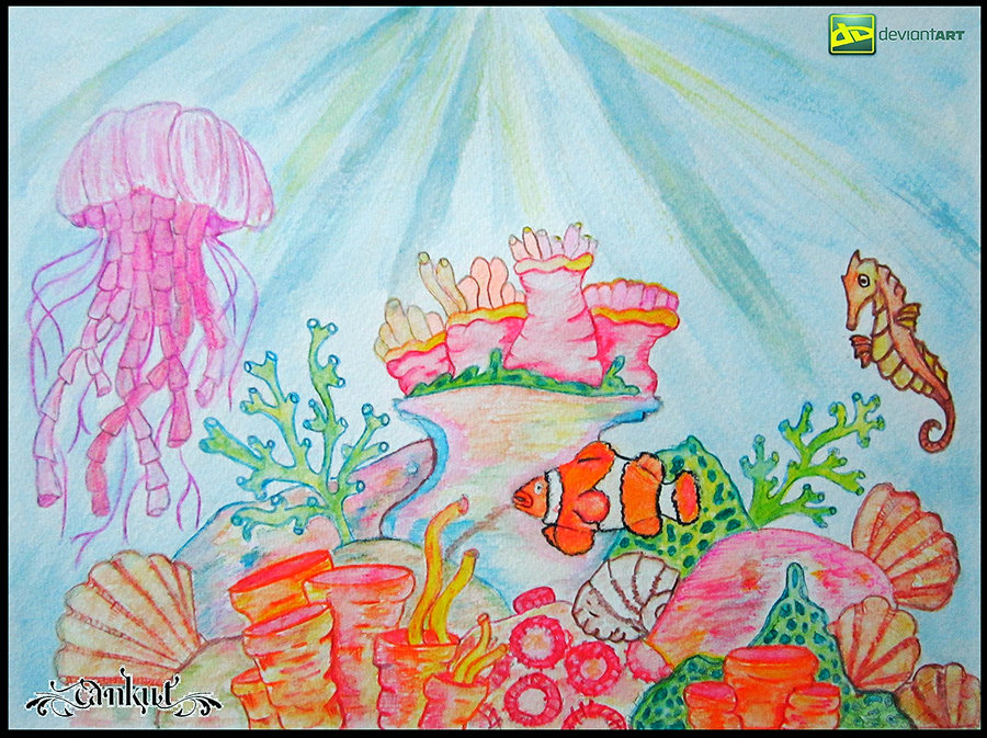 900x673 Coral Reef ( Sea Horse , Anemone Fish ) By Cankut Art