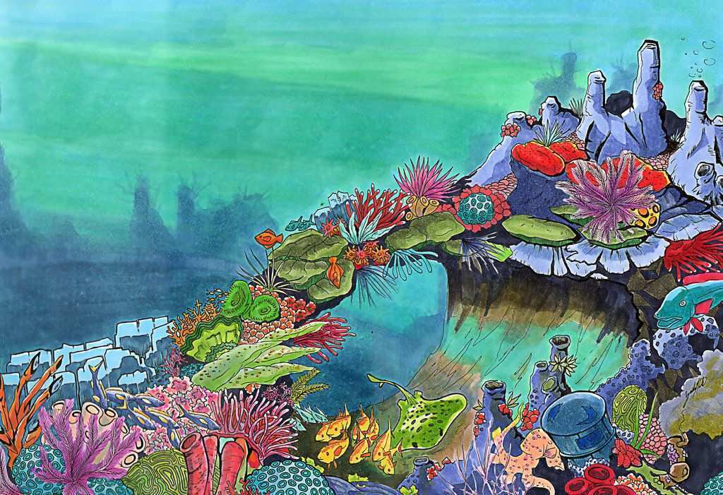 1024x701 Coral Reef Painting Fresh Deep Sea Coral Reef By Dodobirdz2 Other