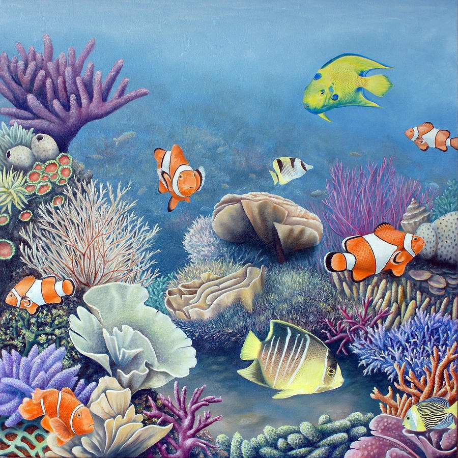900x900 Coral Reef Painting Inspirational Coral Sea Canvas Print Amp Canvas