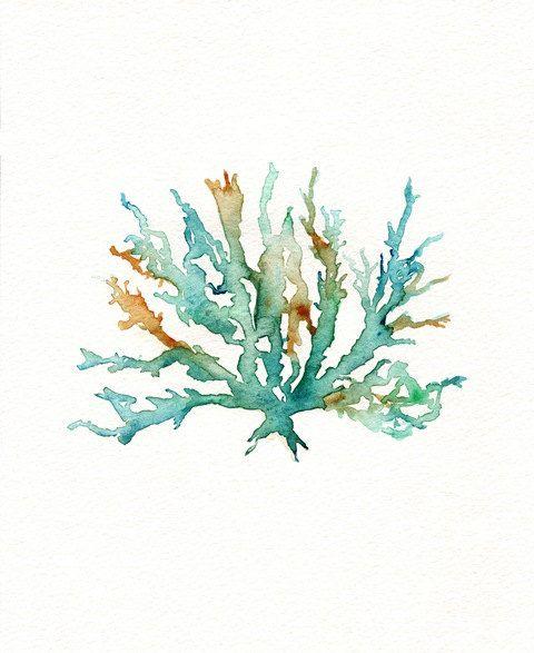 480x587 Beach Print, Beach Art, Coral Print, Wall Art, Watercolor Print