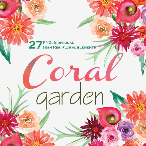 570x570 Watercolor Flowers Clipart. Coral Garden Flowers. Wedding Clip Etsy
