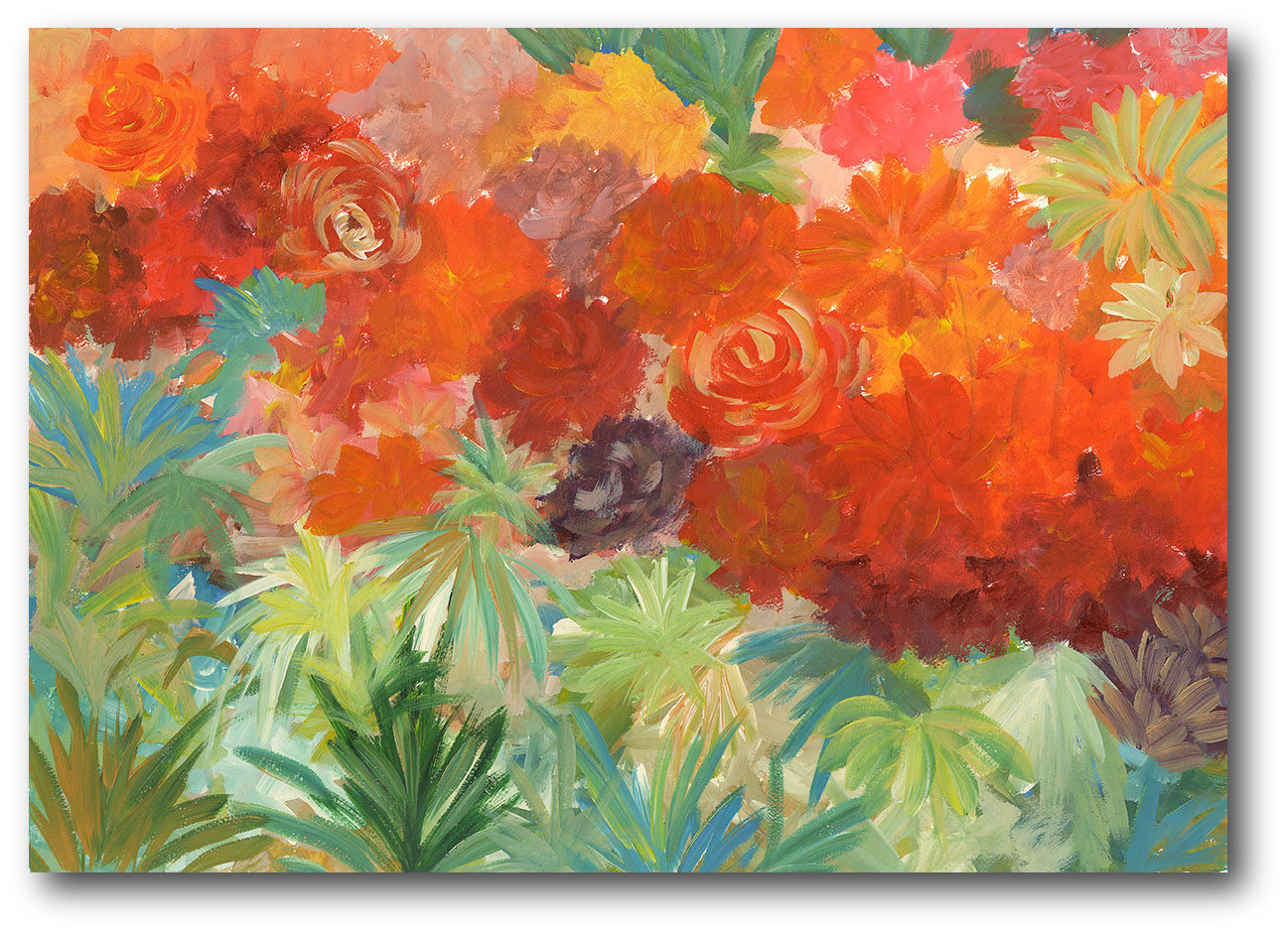1297x941 Courtside Market Coral Daisy Garden Ii Painting Print On Wrapped