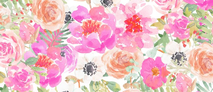 700x304 Modern Pink Coral Watercolor Hand Painted Floral Coffee Mug By