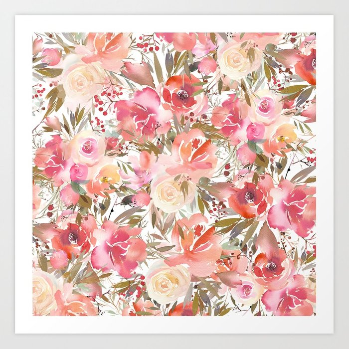 700x700 Blush Pink Coral White Watercolor Hand Painted Roses Flowers Art