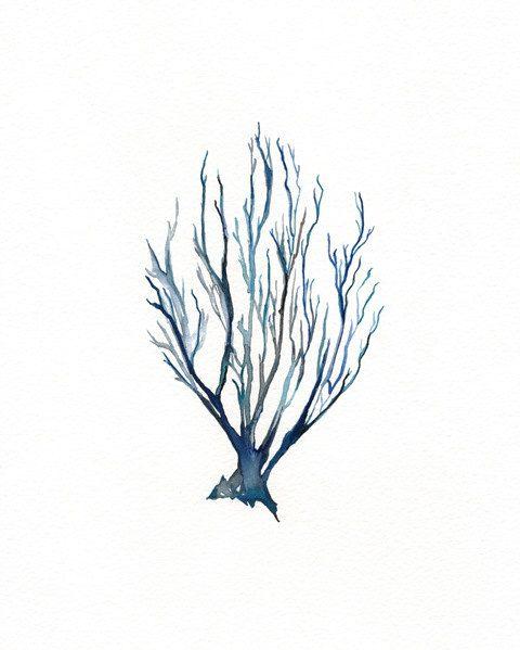 480x599 No.10 Sea Coral Watercolor Print Dark Blue By Kellybermudez