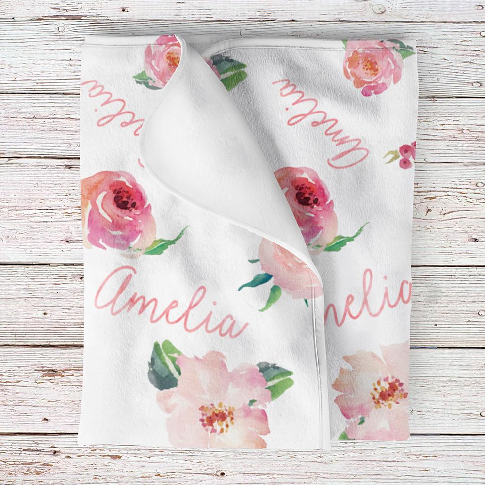 1000x1000 Personalized Baby Girl Name Blanket, Floral Watercolor Print Coral