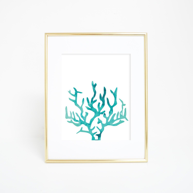 1500x1500 Beach Decor Coral Print Watercolor Wall Art Watercolor, Beach Wall
