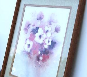 300x264 Vintage Oak Frame Double Matte Watercolor Print Coral Brown