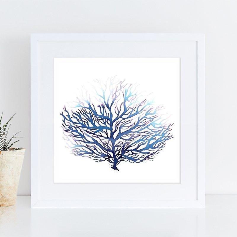 800x800 Blue Coral Watercolor Print, Ocean Art, Sea Decor Waves