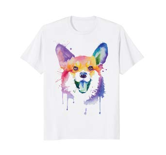 342x320 Cute Corgi Watercolor Funny T Shirt. Dog Gifts Clothing