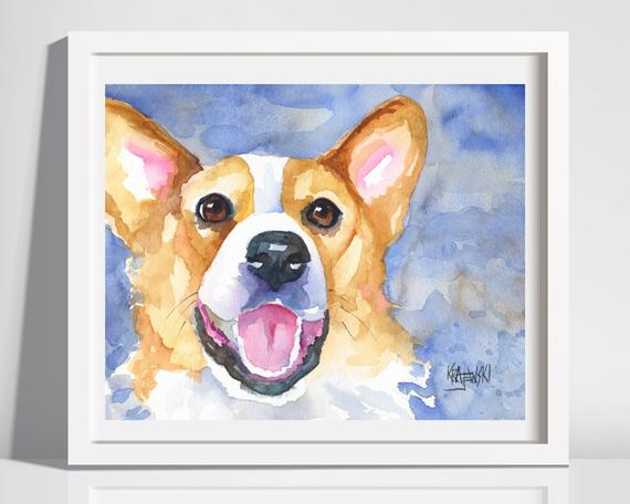 570x456 Corgi Art Happy Dog Watercolor Corgi Print Welsh Corgi Art Etsy