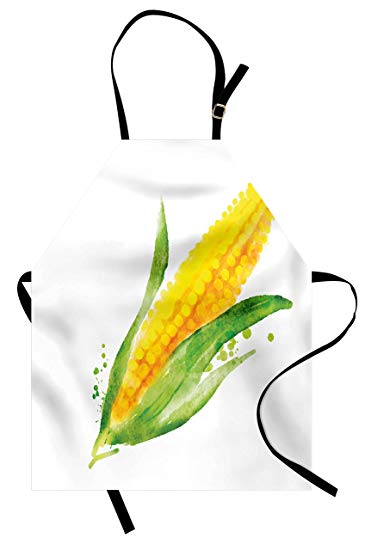 371x550 Garden Apron By Lunarable, Corn With Paint Splashes
