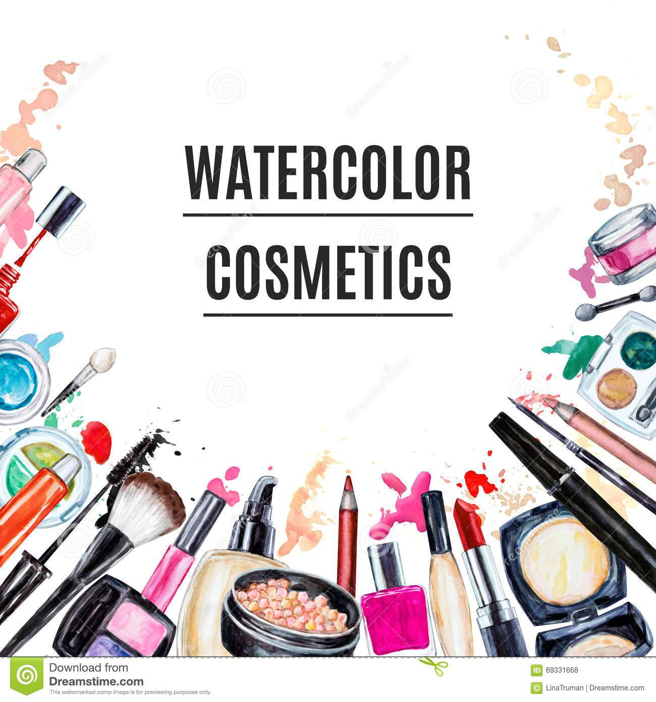 1300x1390 Frame Of Various Watercolor Decorative Cosmetic Makeup Products