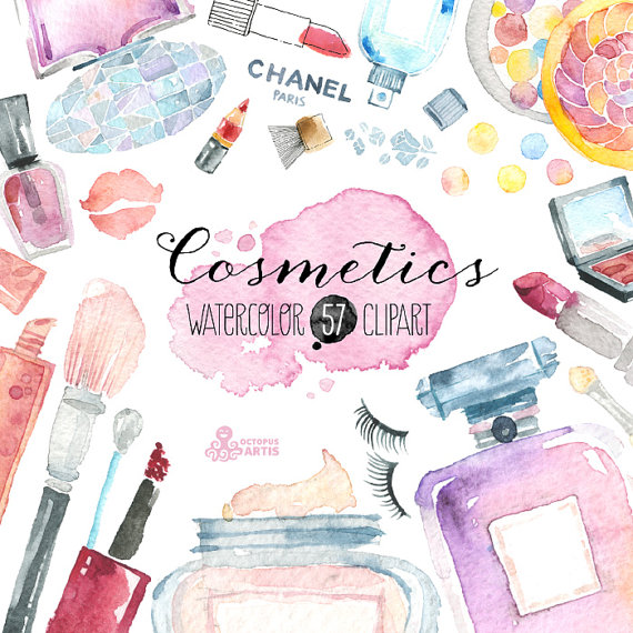 570x570 Makeup Cosmetics Watercolor. 57 Hand Painted Clipart, Diy Elements