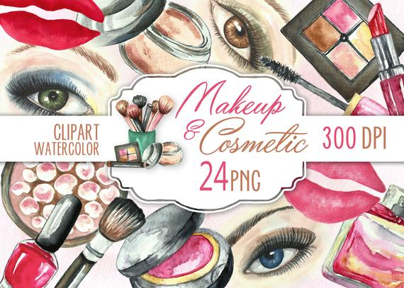 570x407 Makeup Cosmetic Clip Art. Beauty Watercolor Images. Make Up Etsy