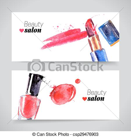 450x470 Watercolor Cosmetics Banner Set. Vector Beauty Illustration.