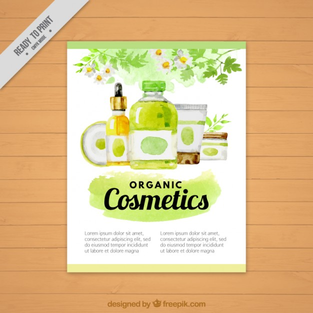 626x626 Watercolor Natural Cosmetic Products Flyer Vector Free Download
