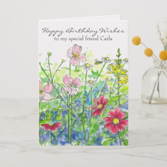 540x540 Cosmos Watercolor Flower Happy Birthday Friend Card