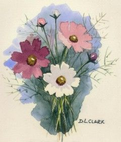 240x281 How To Paint Cosmos Flowers In Watercolor Watercolor Painting