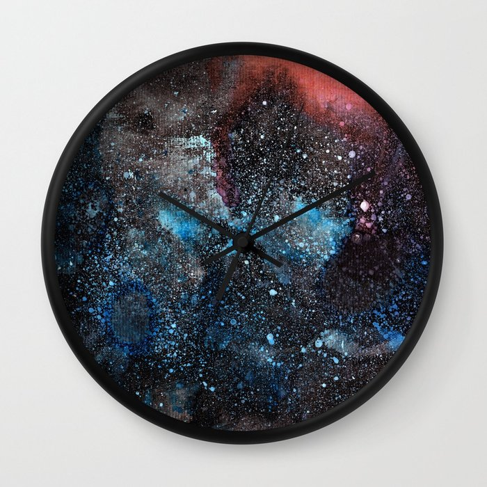 700x700 Abstract Cosmos Watercolor Art Wall Clock By