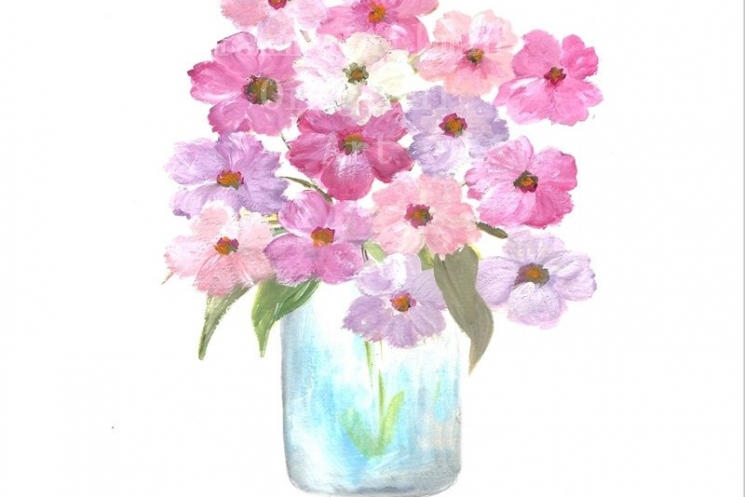 745x497 Original Cosmos Watercolor, Floral Vase Series, Cosmos Original