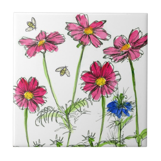 540x540 Bees Nigella Hot Pink Cosmos Watercolor Flowers Ceramic Tile