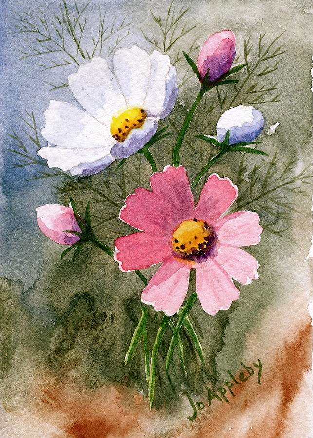 643x900 Cosmos Blooms Painting By Jo Appleby
