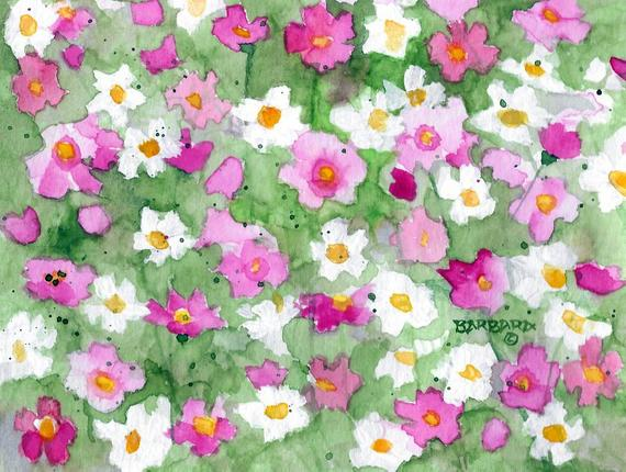 570x430 Cosmos Notecards Handmade Gift Cosmos Watercolor Notecards Etsy
