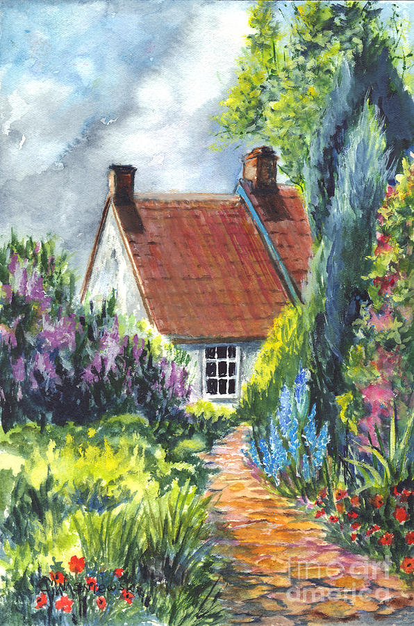 596x900 The Cottage Garden Path Painting By Carol Wisniewski