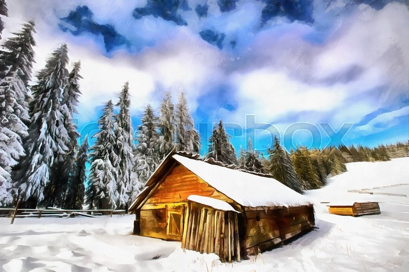 800x532 The Works In The Style Of Watercolor Painting. Cottage In Snowy