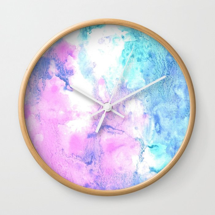 700x700 Cotton Candy Watercolor Abstract Wall Clock By Creamandsugar