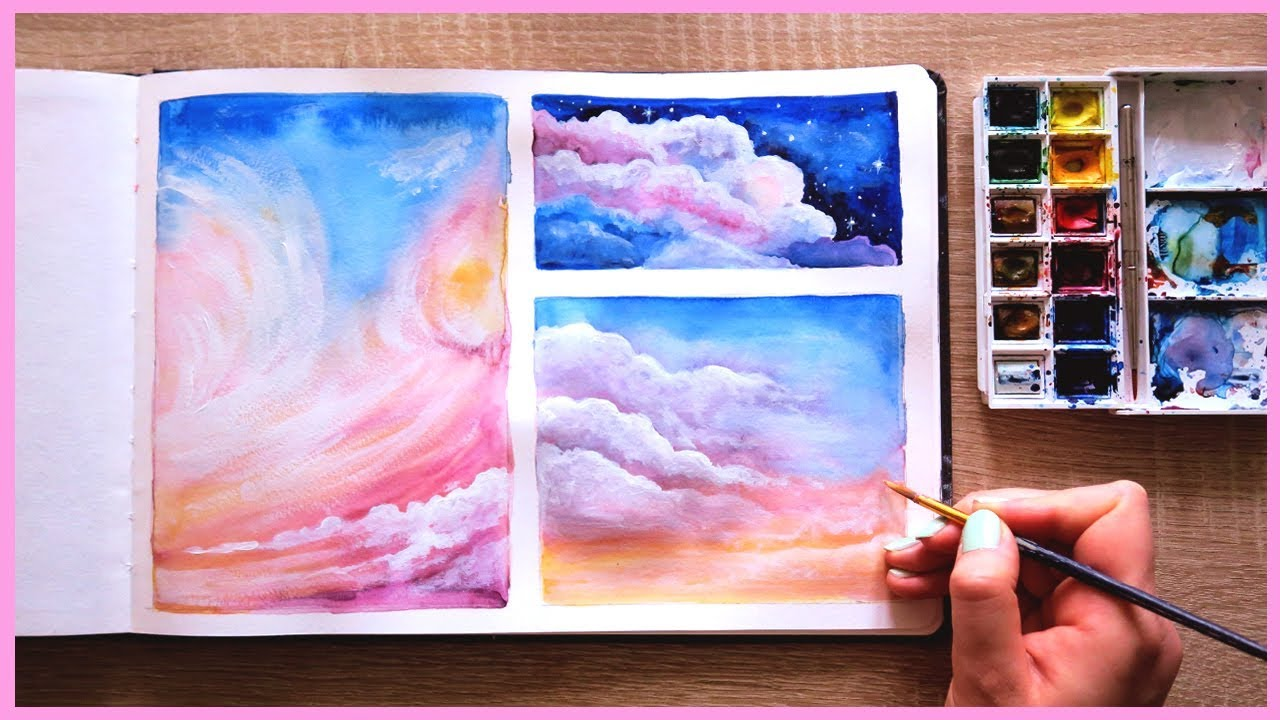 1280x720 How To Paint Cotton Candy Clouds With Watercolors For Beginners