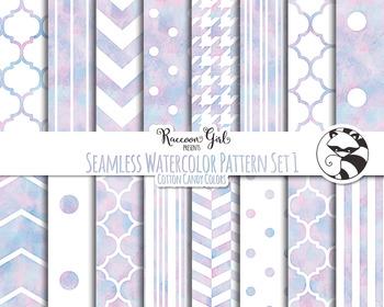 350x280 Seamless Watercolor Pattern Set