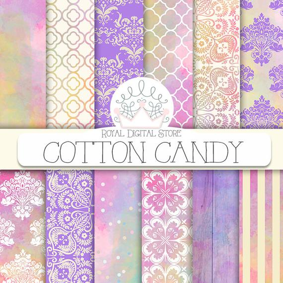 570x570 Sweet Digital Paper Cotton Candy With Watercolor Etsy
