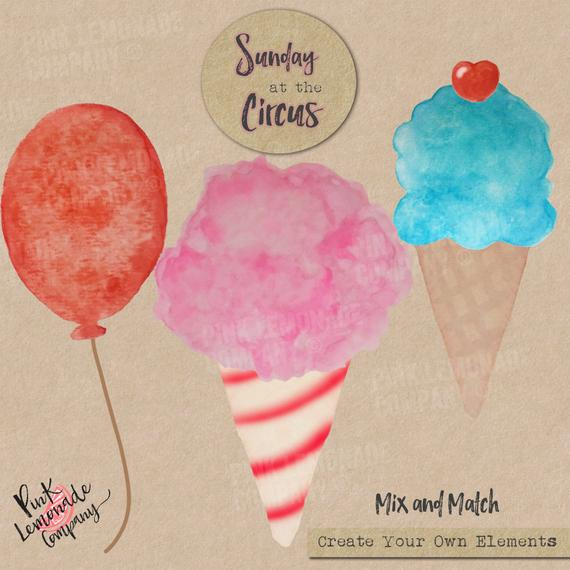570x570 Watercolor Circus Cotton Candy Balloons Ice Cream Cone Digital Etsy