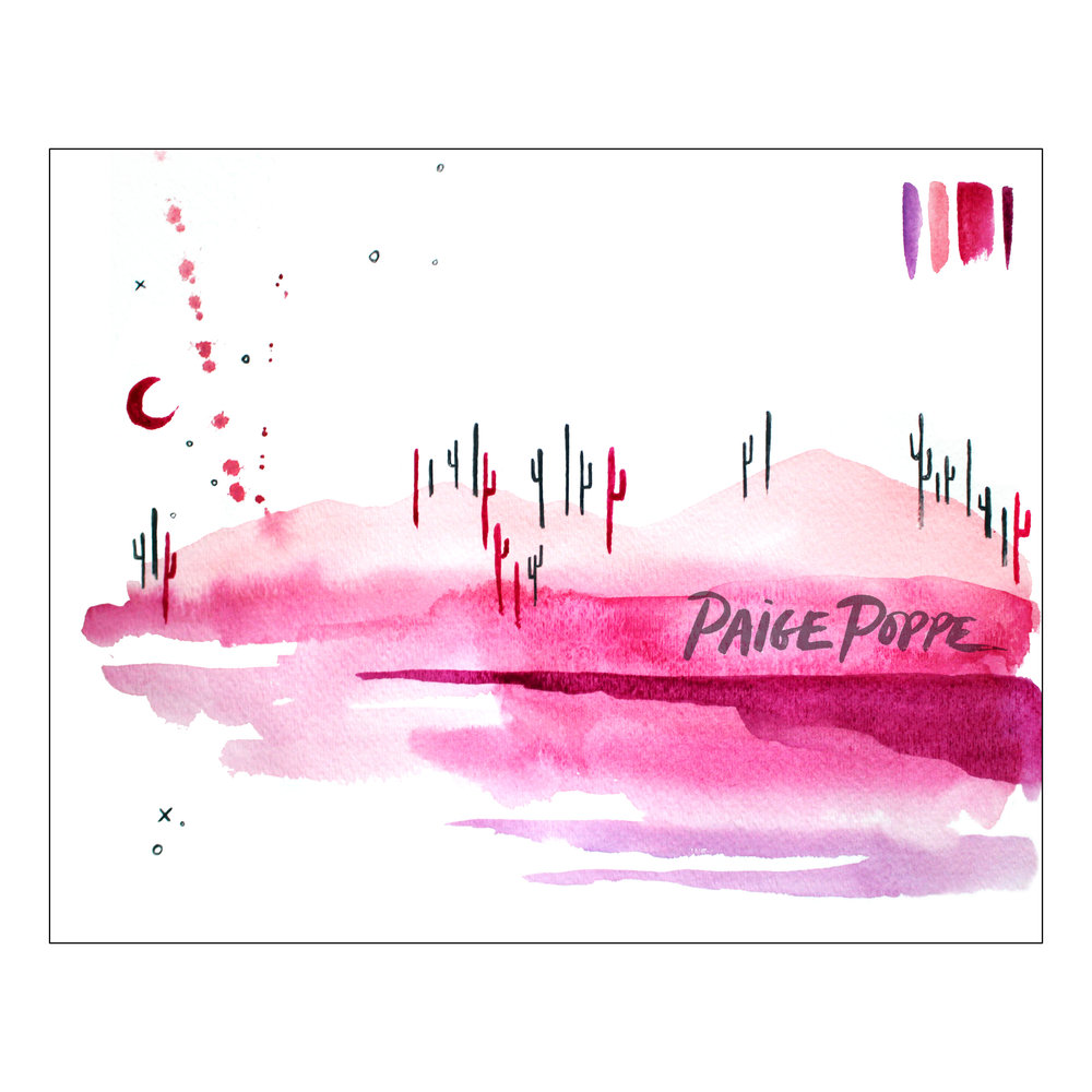 1000x1000 Cotton Candy Desert Watercolor Print Paige Poppe
