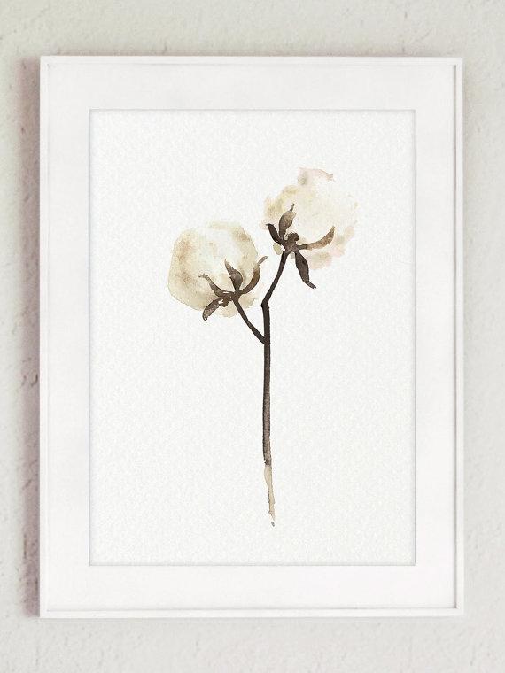 570x760 Cotton Painting Shabby Chic Decor, White Brown Minimalist Flower