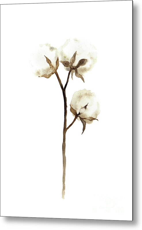 493x796 Cotton White Brown Beige Watercolor Art Print Natural Home Decor