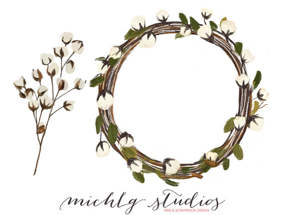 570x429 Cotton Clipart Wreath